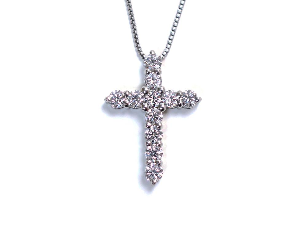 Pt900×Pt850 プラチナ ダイヤモンド クロスネックレス 1.00ct 3.0g 買取実績 2020.07