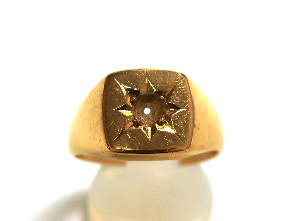 K18 イエローゴールド 宝石なし 印台リング 11.9g 買取実績 2020.09