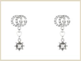 グッチ ピアス イヤリング 高価買取アイテム ダイヤモンド付きフラワー&ダブルGピアス 581830