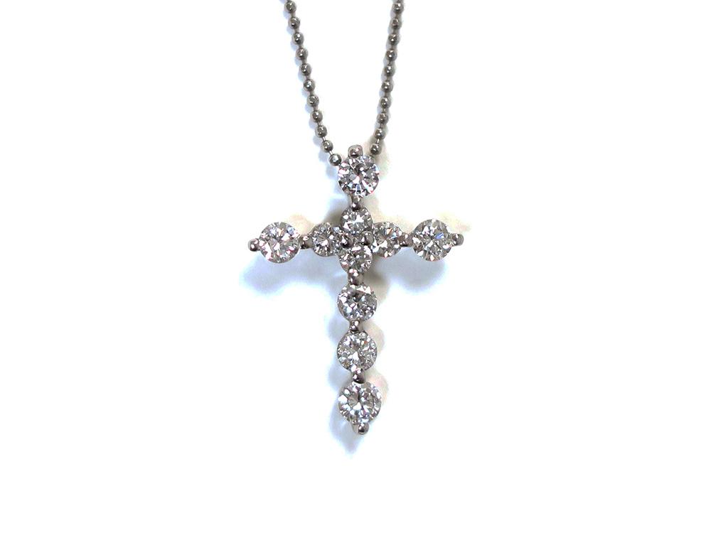 Pt900×Pt850 プラチナ ダイヤモンド クロスネックレス 1.02ct 3.4g 買取実績 2020.10