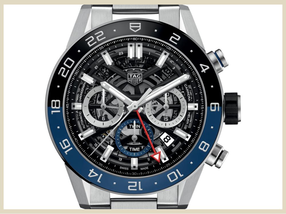 ブランド時計 高価買取アイテム TAG HEUER タグ・ホイヤー カレラ キャリバー ホイヤー02 クロノグラフ GMT CBG2A1Z.BA0654