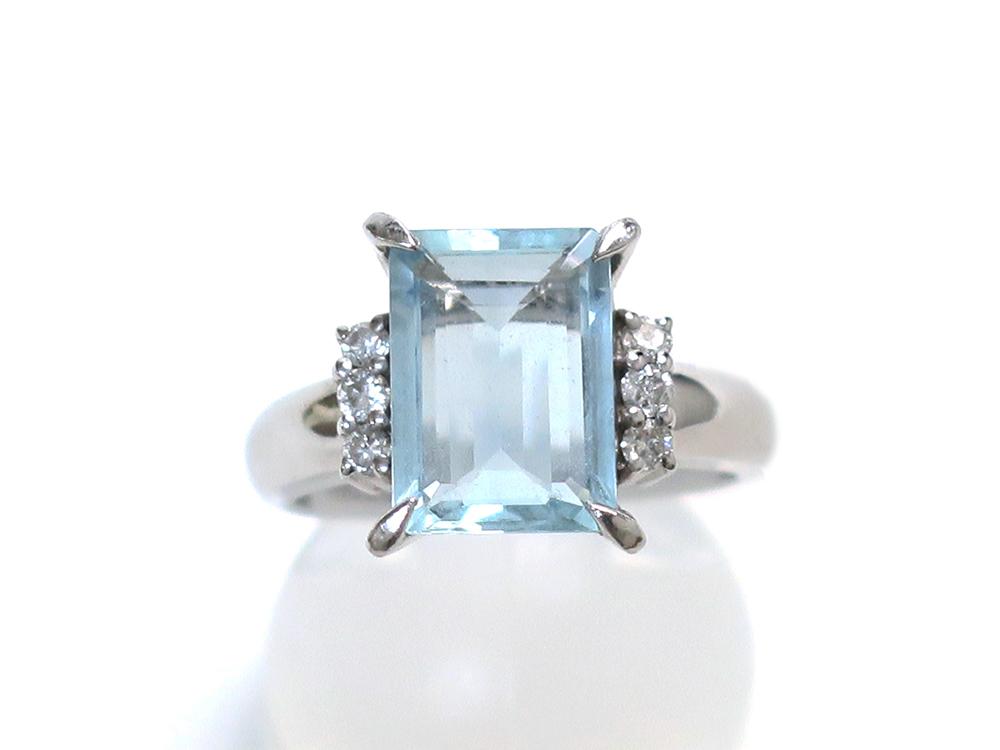 Pt900 プラチナ アクアマリンリング 2.01ct ダイヤモンド 0.24ct 6.3g  買取実績 2020.11