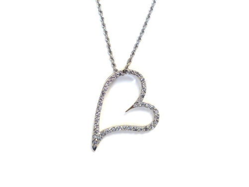 K18 ホワイトゴールド ダイヤモンド ハートネックレス 0.50ct 4.1g 買取実績 2021.06