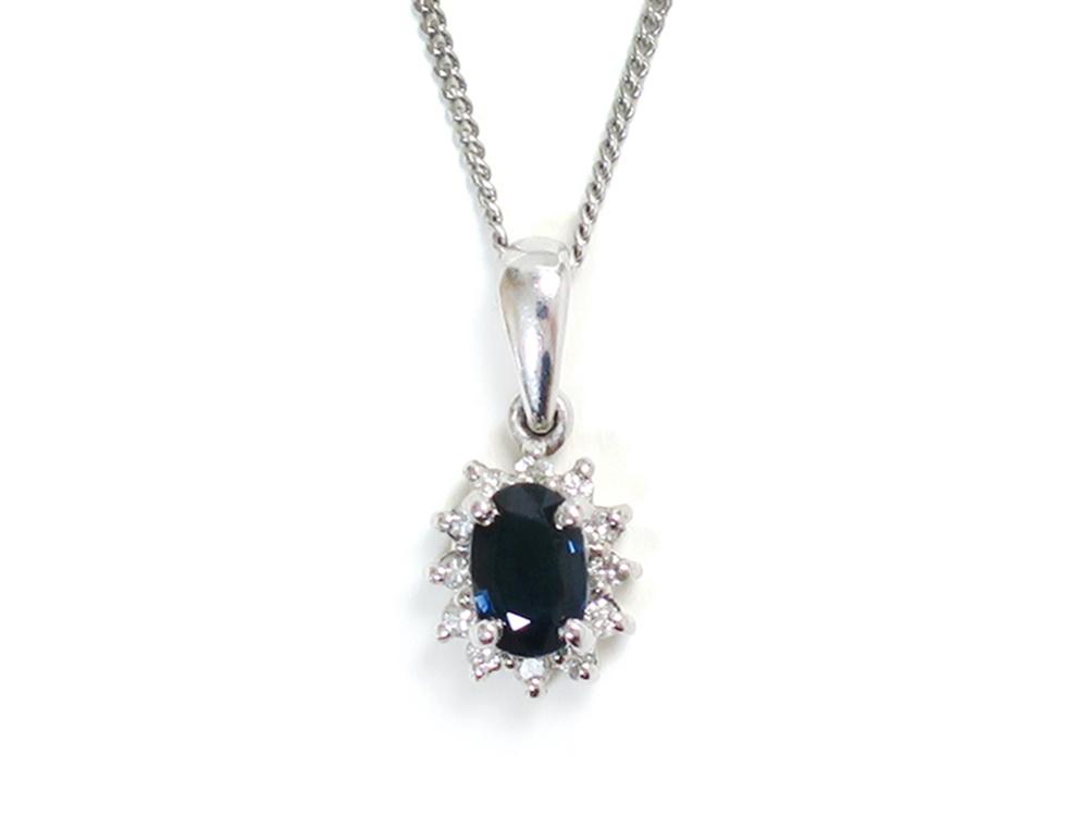 Pt900×Pt850 プラチナ サファイアネックレス 0.65ct ダイヤモンド 0.30ct 3.5g 買取実績 2021.06